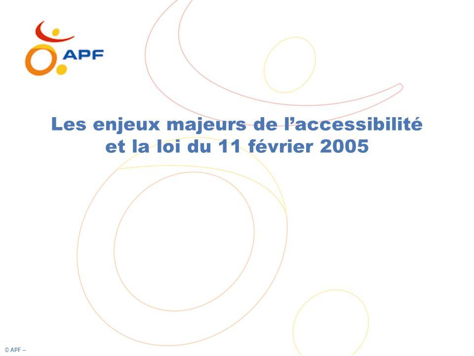© APF – Les enjeux majeurs de laccessibilité et la loi du 11 février 2005