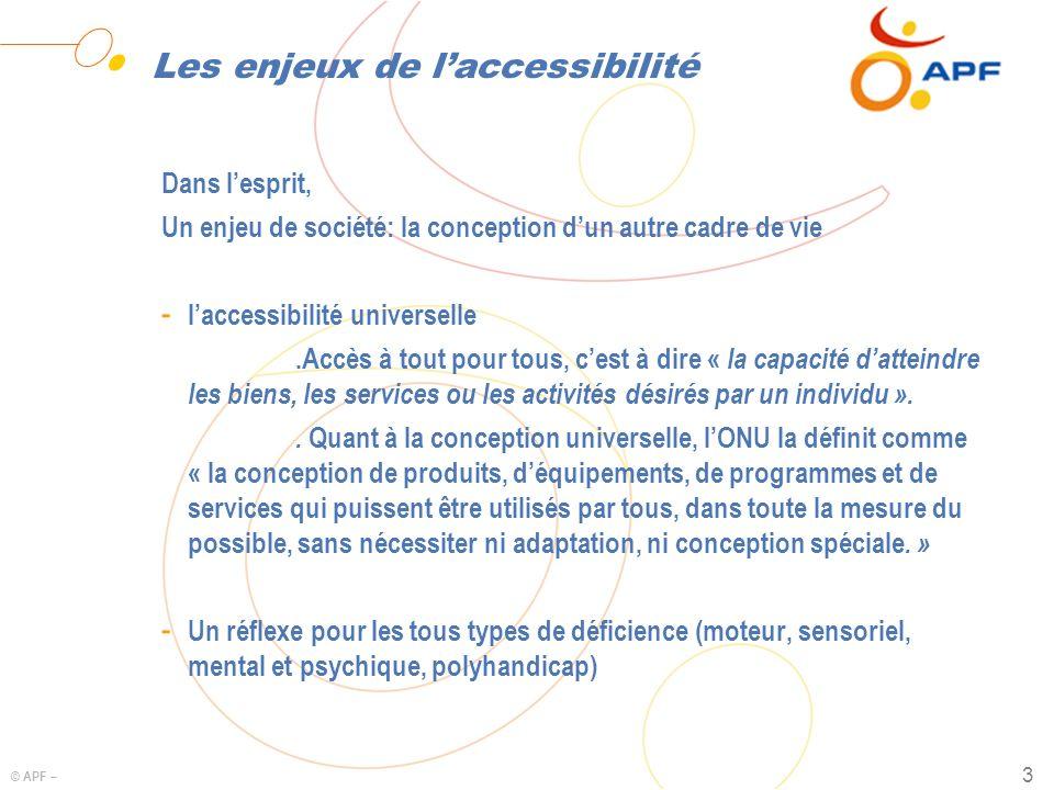 © APF – 3 Les enjeux de laccessibilité Dans lesprit, Un enjeu de société: la conception dun autre cadre de vie - laccessibilité universelle.Accès à to