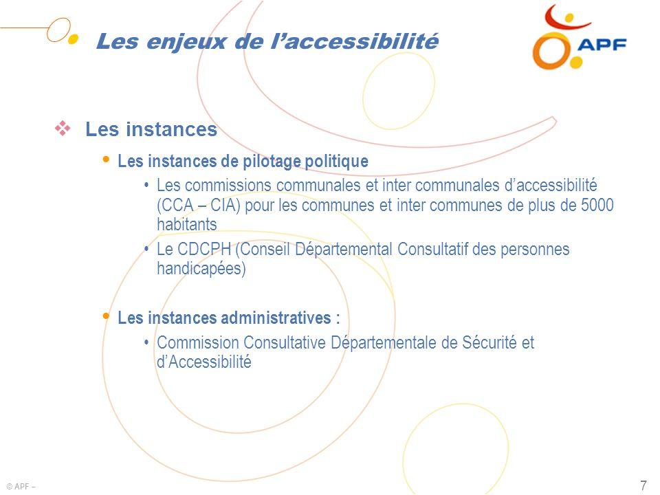 © APF – 7 Les enjeux de laccessibilité Les instances Ÿ Les instances de pilotage politique Les commissions communales et inter communales daccessibili