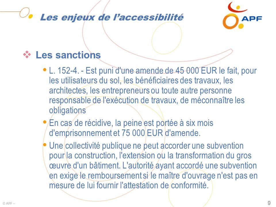 © APF – 9 Les enjeux de laccessibilité Les sanctions Ÿ L. 152-4. - Est puni d'une amende de 45 000 EUR le fait, pour les utilisateurs du sol, les béné