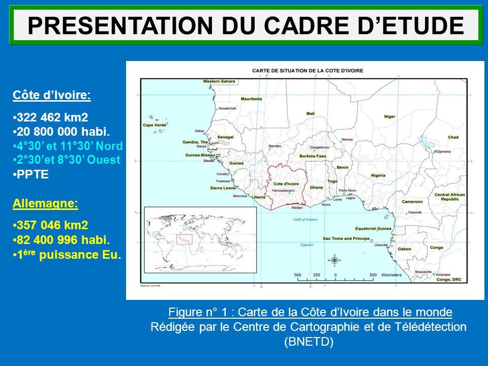 Figure n° 1 : Carte de la Côte dIvoire dans le monde Rédigée par le Centre de Cartographie et de Télédétection (BNETD) Côte dIvoire: 322 462 km2 20 80