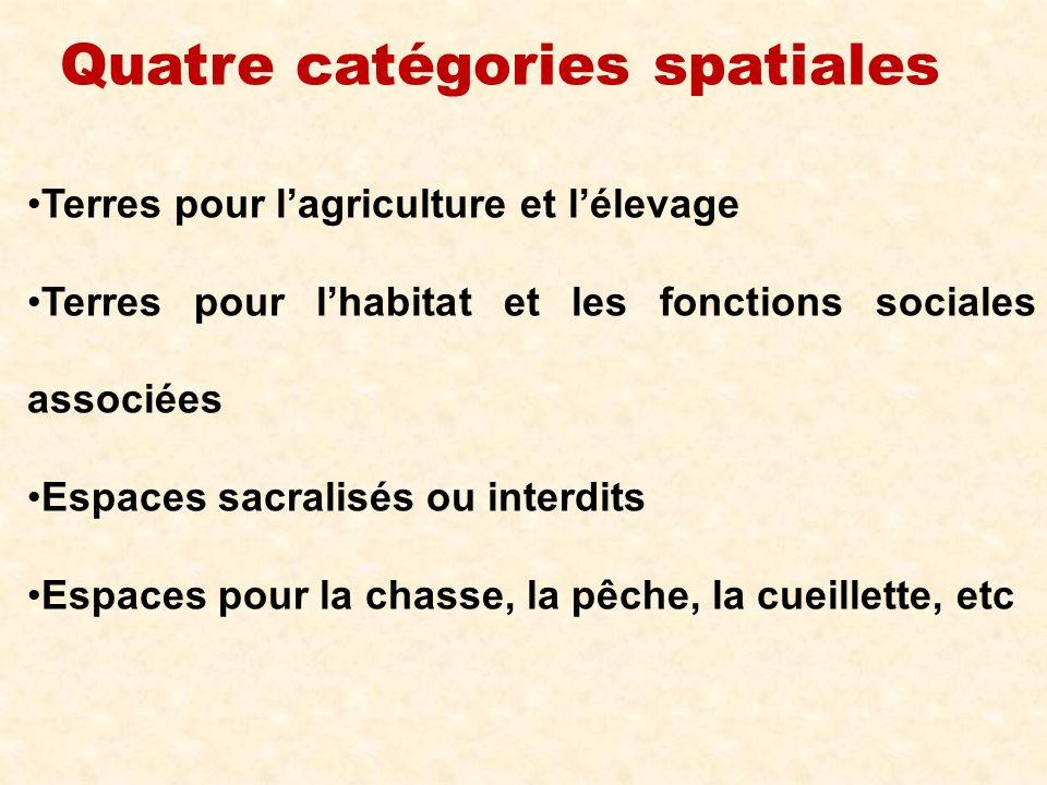 Quatre catégories spatiales Terres pour lagriculture et lélevage Terres pour lhabitat et les fonctions sociales associées Espaces sacralisés ou interd