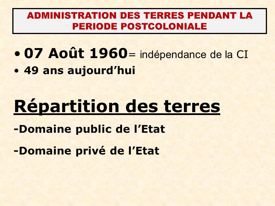 ADMINISTRATION DES TERRES PENDANT LA PERIODE POSTCOLONIALE 07 Août 1960 = indépendance de la CI 49 ans aujourdhui Répartition des terres -Domaine publ