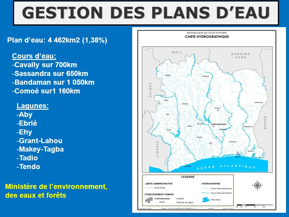 GESTION DES PLANS DEAU Plan deau: 4 462km2 (1,38%) Cours deau: -Cavally sur 700km -Sassandra sur 650km -Bandaman sur 1 050km -Comoé sur1 160km Lagunes