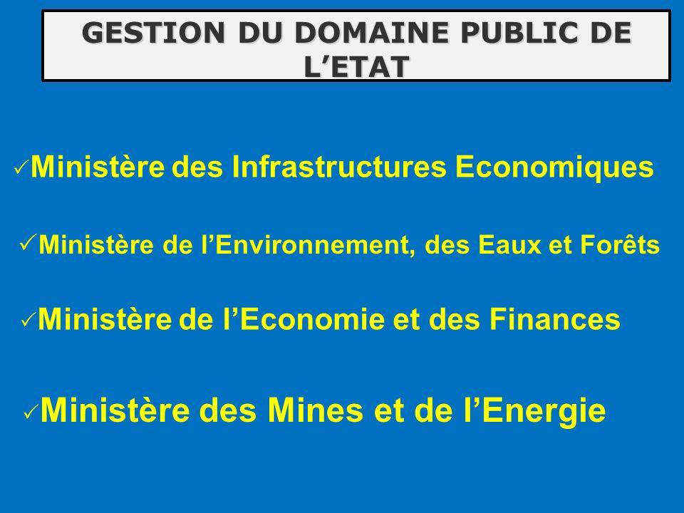 GESTION DU DOMAINE PUBLIC DE LETAT Ministère de lEnvironnement, des Eaux et Forêts Ministère des Mines et de lEnergie Ministère des Infrastructures Ec