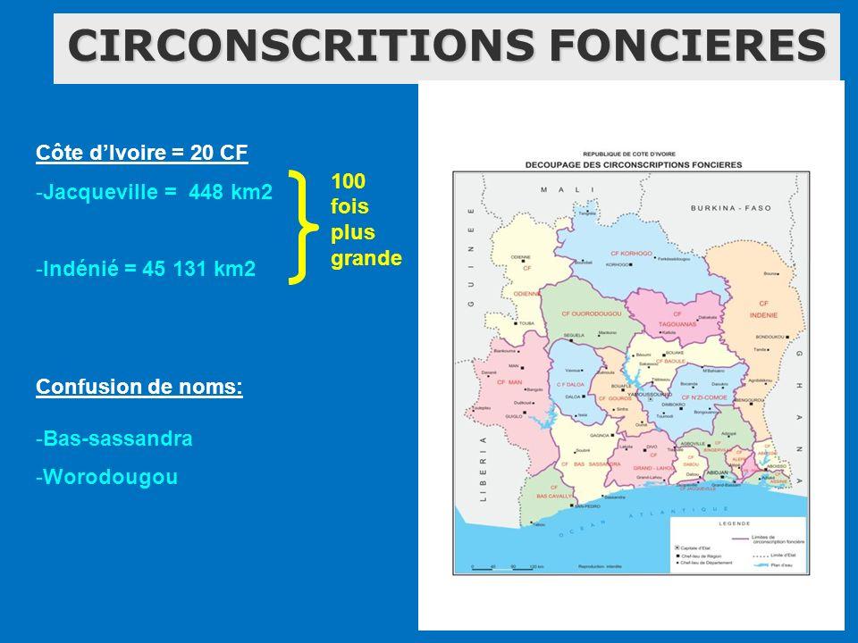 CIRCONSCRITIONS FONCIERES Côte dIvoire = 20 CF -Jacqueville = 448 km2 -Indénié = 45 131 km2 Confusion de noms: -Bas-sassandra -Worodougou 100 fois plu