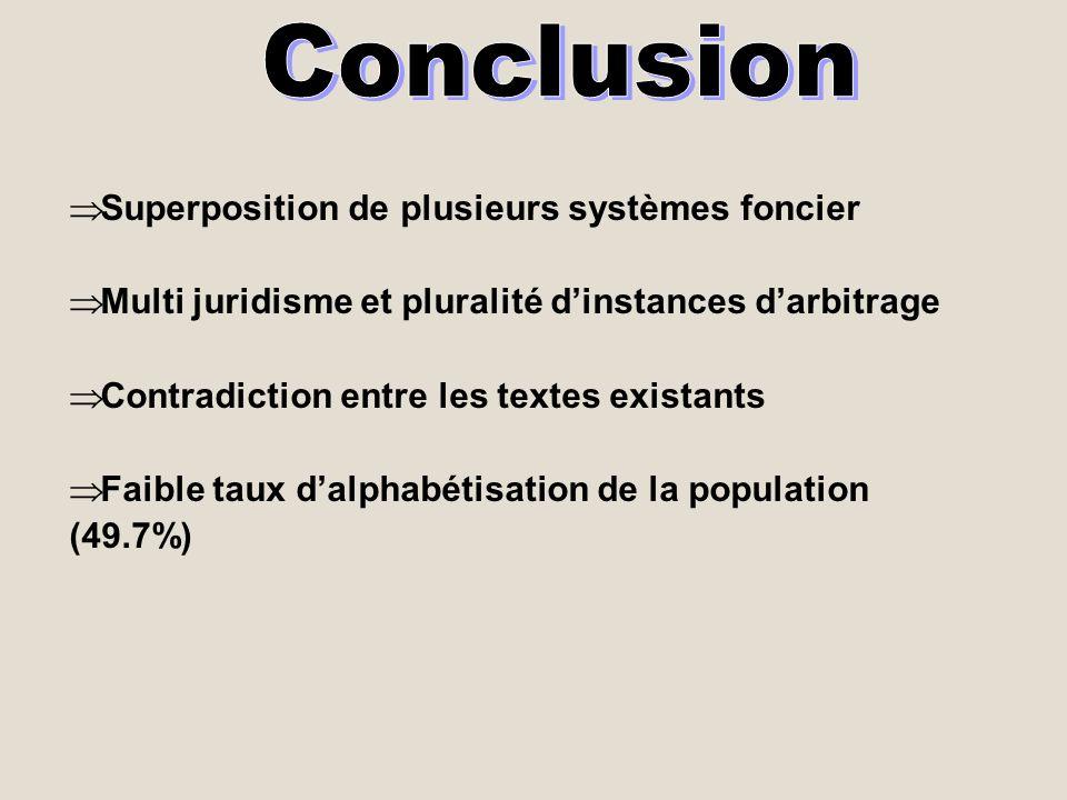 Superposition de plusieurs systèmes foncier Multi juridisme et pluralité dinstances darbitrage Contradiction entre les textes existants Faible taux da