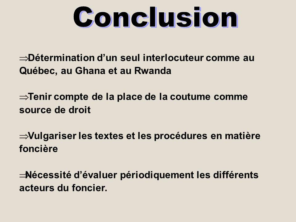 Détermination dun seul interlocuteur comme au Québec, au Ghana et au Rwanda Tenir compte de la place de la coutume comme source de droit Vulgariser le