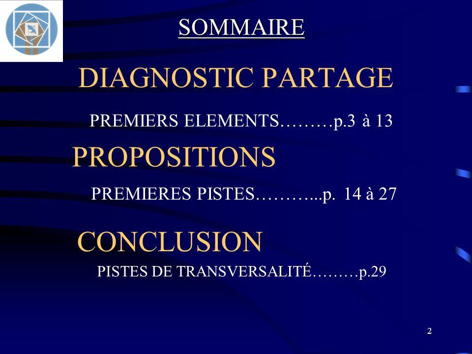 2 DIAGNOSTIC PARTAGE PREMIERS ELEMENTS………p.3 à 13 CONCLUSION PISTES DE TRANSVERSALITÉ………p.29 PROPOSITIONS PREMIERES PISTES………...p. 14 à 27 SOMMAIRE