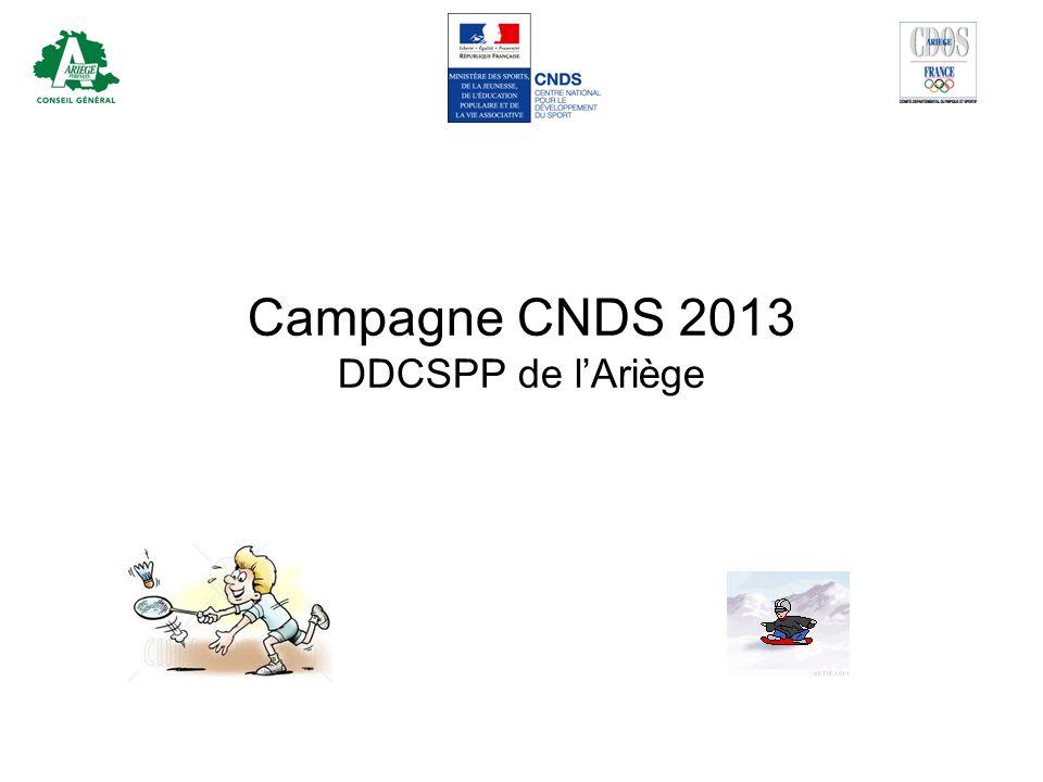 Contexte campagne CNDS 2013 2013: année de redressement financier car déficit du CNDS denviron 6-6,5 millions CNDS participation à leffort de redressement général Baisse de la part territoriale CNDS de - 6,5% par rapport à 2012 Baisse moyenne Midi-Pyrénées de 7,05% Baisse pour lAriège : –6% sur la répartition de base / 2012 –11,62% sur la répartition totale (enveloppe globale) / 2012 Stabilité somme sur 3-4 ans