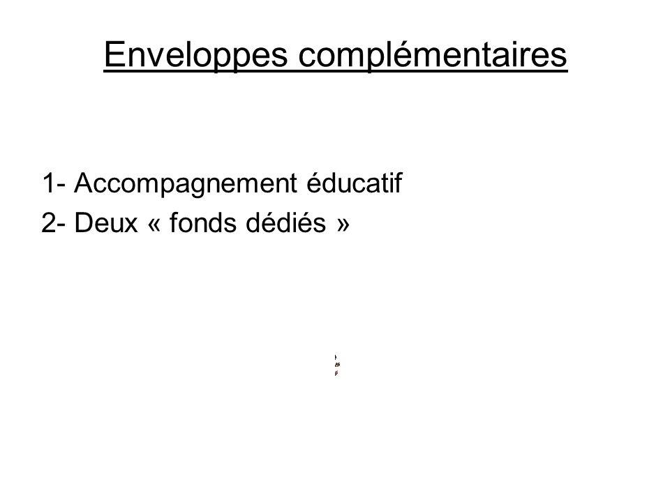 Enveloppes complémentaires 1- Accompagnement éducatif 2- Deux « fonds dédiés »