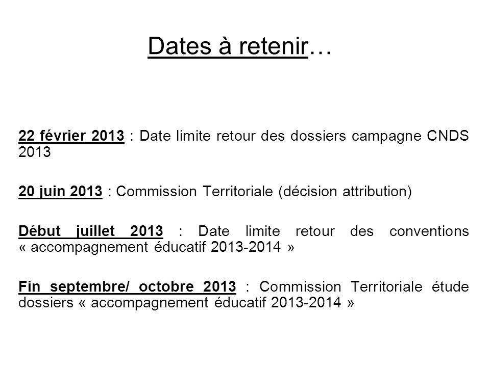 Dates à retenir… 22 février 2013 : Date limite retour des dossiers campagne CNDS 2013 20 juin 2013 : Commission Territoriale (décision attribution) Dé