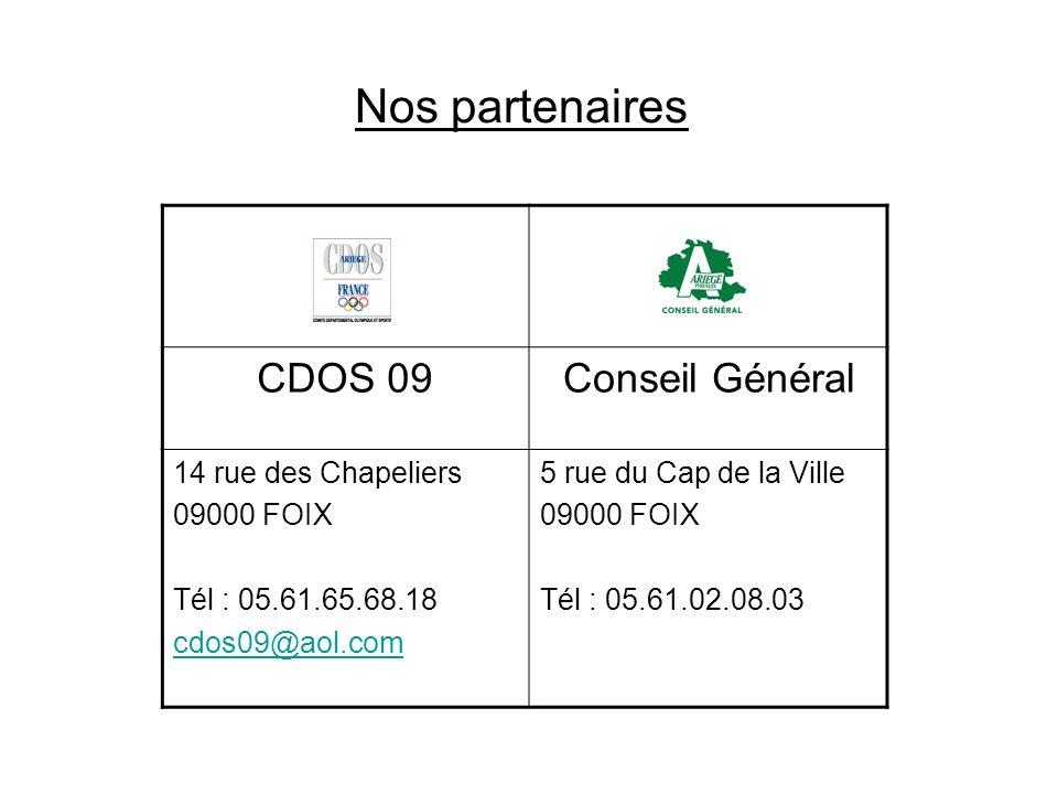 Nos partenaires CDOS 09Conseil Général 14 rue des Chapeliers 09000 FOIX Tél : 05.61.65.68.18 cdos09@aol.com 5 rue du Cap de la Ville 09000 FOIX Tél :