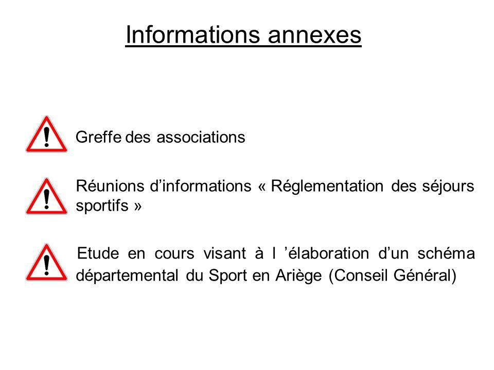 Informations annexes Greffe des associations Réunions dinformations « Réglementation des séjours sportifs » Etude en cours visant à l élaboration dun