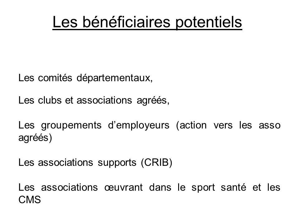 Les bénéficiaires potentiels Les comités départementaux, Les clubs et associations agréés, Les groupements demployeurs (action vers les asso agréés) L