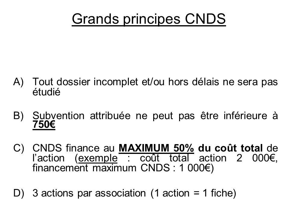 Grands principes CNDS A)Tout dossier incomplet et/ou hors délais ne sera pas étudié B)Subvention attribuée ne peut pas être inférieure à 750 C)CNDS fi