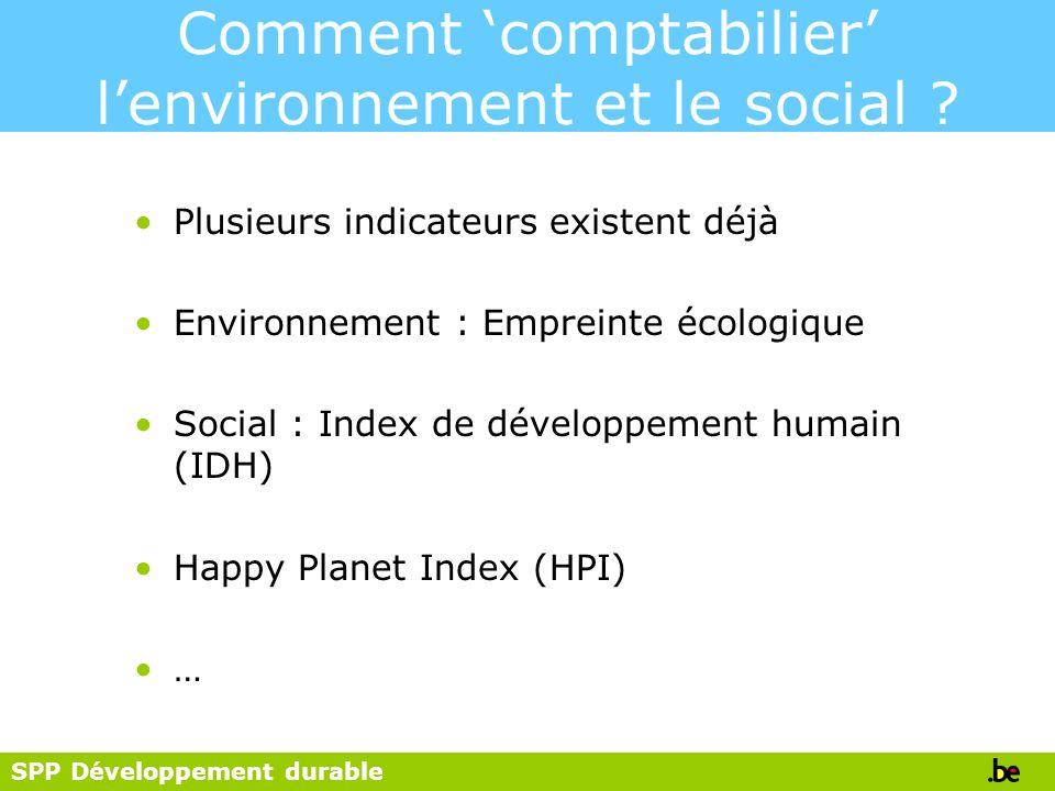 SPP Développement durable Comment comptabilier lenvironnement et le social ? Plusieurs indicateurs existent déjà Environnement : Empreinte écologique