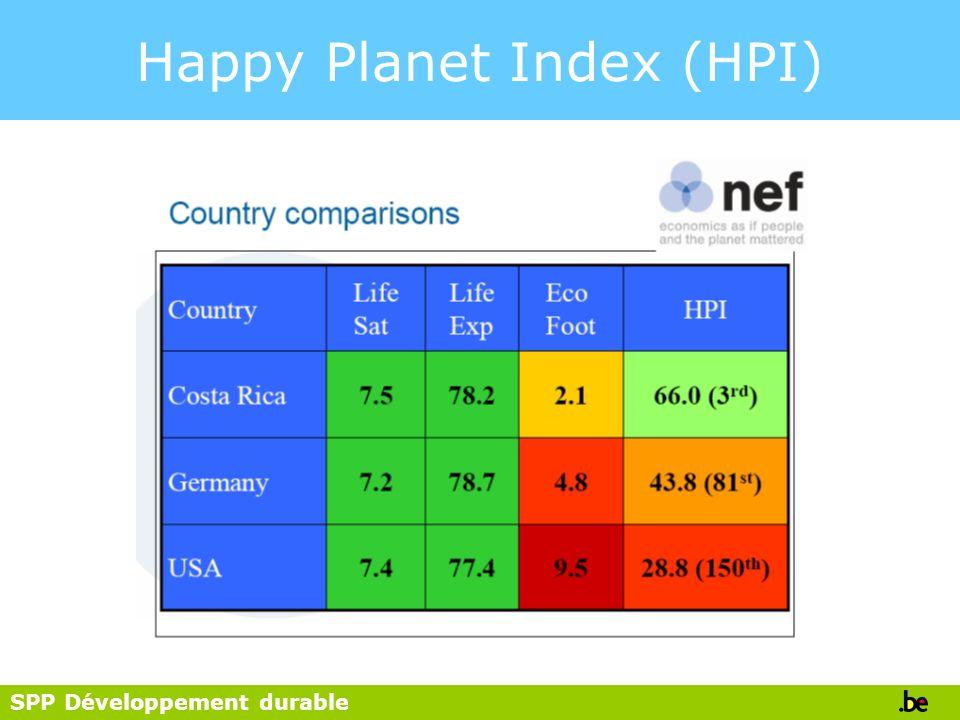SPP Développement durable Happy Planet Index (HPI)