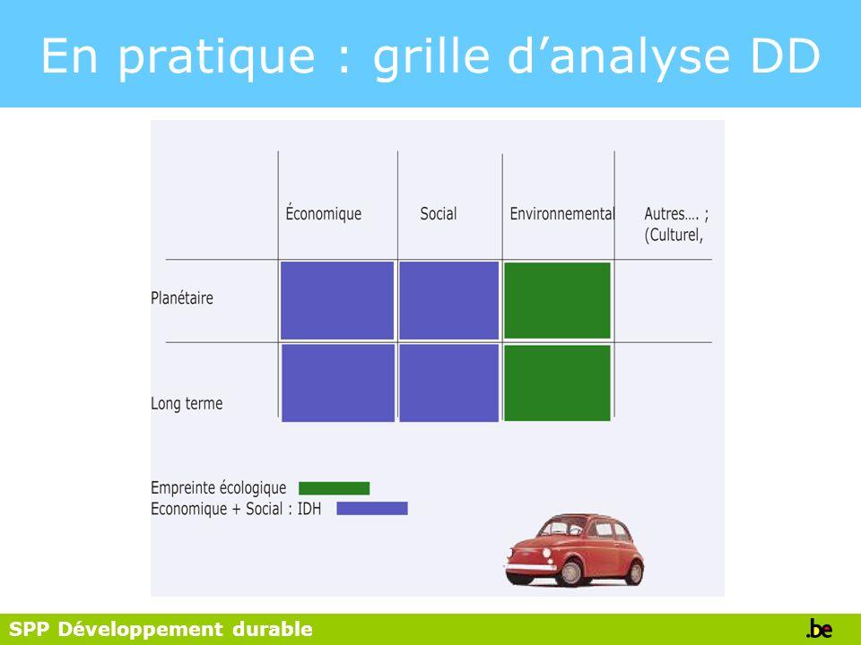 SPP Développement durable En pratique : grille danalyse DD