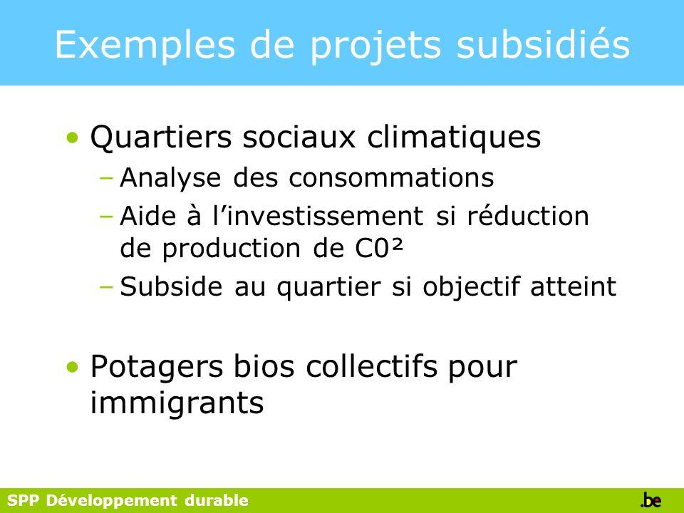 SPP Développement durable Exemples de projets subsidiés Quartiers sociaux climatiques –Analyse des consommations –Aide à linvestissement si réduction