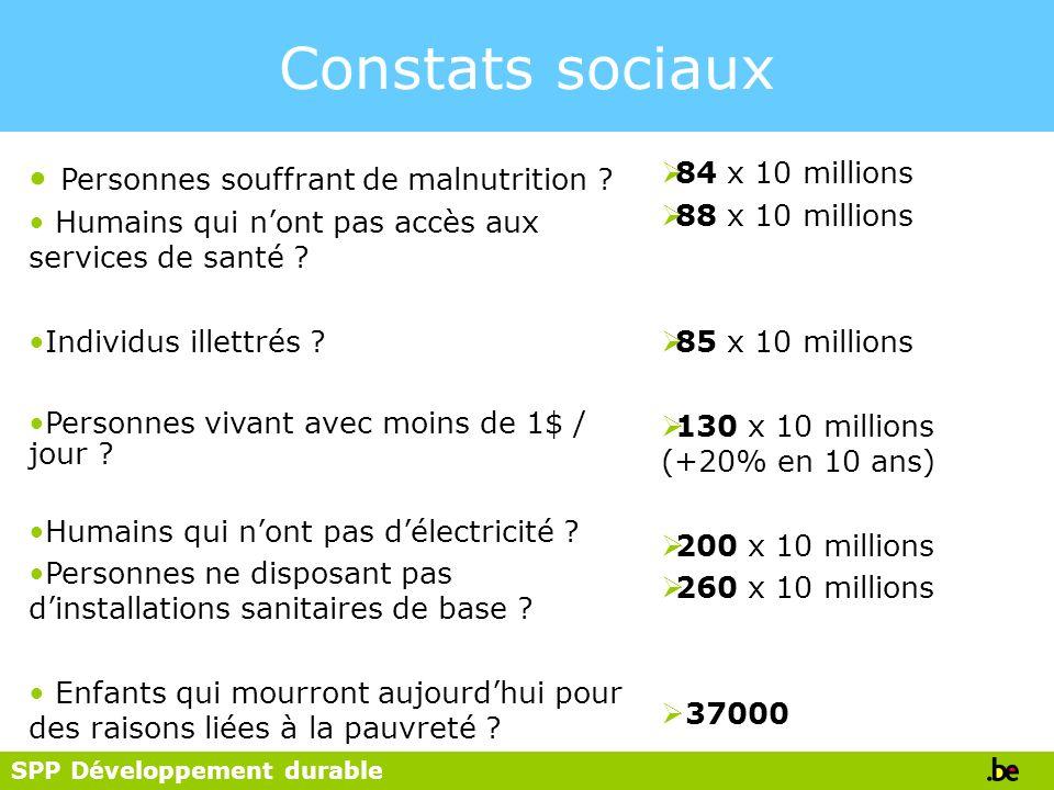 SPP Développement durable Constats sociaux Personnes souffrant de malnutrition ? Humains qui nont pas accès aux services de santé ? Individus illettré