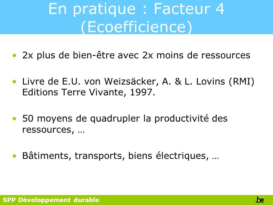 SPP Développement durable En pratique : Facteur 4 (Ecoefficience) 2x plus de bien-être avec 2x moins de ressources Livre de E.U. von Weizsäcker, A. &