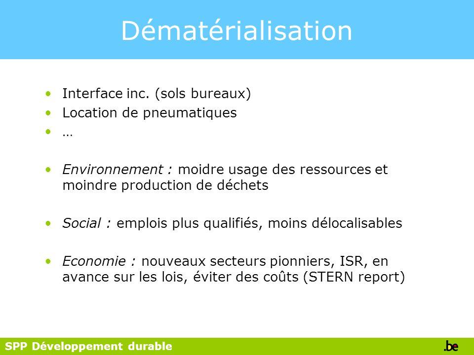 SPP Développement durable Dématérialisation Interface inc. (sols bureaux) Location de pneumatiques … Environnement : moidre usage des ressources et mo
