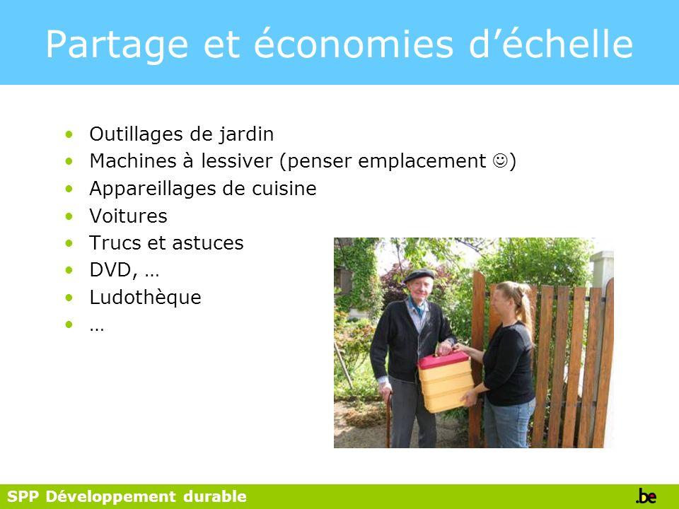 SPP Développement durable Partage et économies déchelle Outillages de jardin Machines à lessiver (penser emplacement ) Appareillages de cuisine Voitur