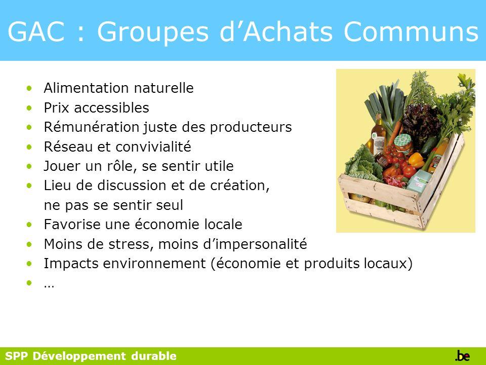 SPP Développement durable GAC : Groupes dAchats Communs Alimentation naturelle Prix accessibles Rémunération juste des producteurs Réseau et convivial