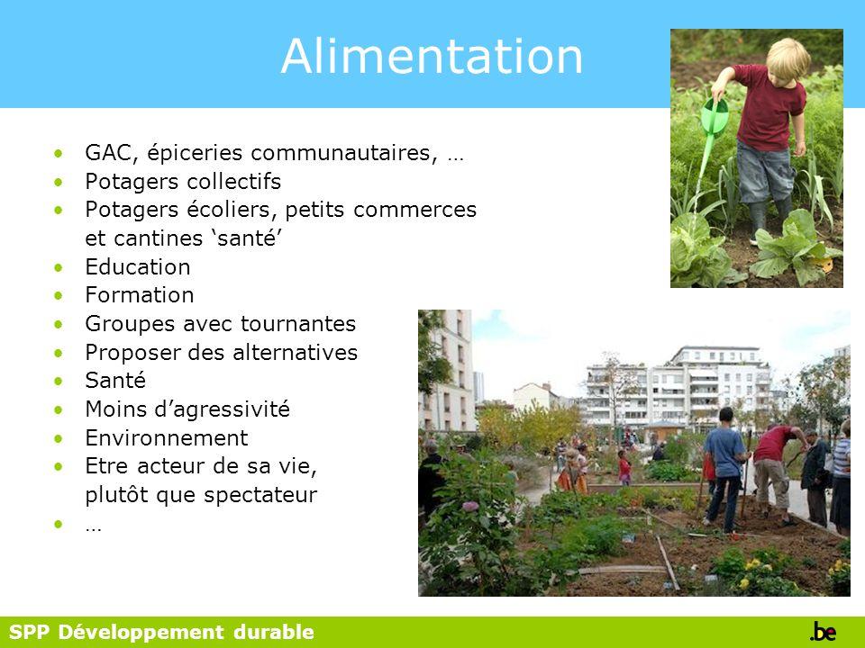 SPP Développement durable Alimentation GAC, épiceries communautaires, … Potagers collectifs Potagers écoliers, petits commerces et cantines santé Educ