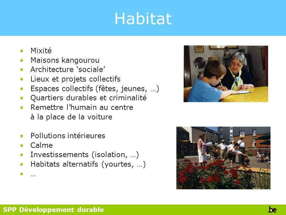 SPP Développement durable Habitat Mixité Maisons kangourou Architecture sociale Lieux et projets collectifs Espaces collectifs (fêtes, jeunes, …) Quar