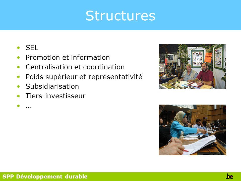 SPP Développement durable Structures SEL Promotion et information Centralisation et coordination Poids supérieur et représentativité Subsidiarisation