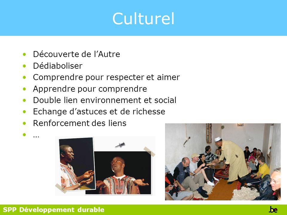 SPP Développement durable Culturel Découverte de lAutre Dédiaboliser Comprendre pour respecter et aimer Apprendre pour comprendre Double lien environn