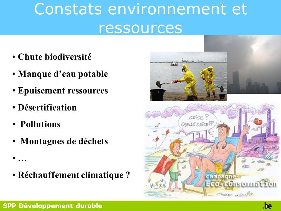 SPP Développement durable Constats environnement et ressources Chute biodiversité Manque deau potable Epuisement ressources Désertification Pollutions