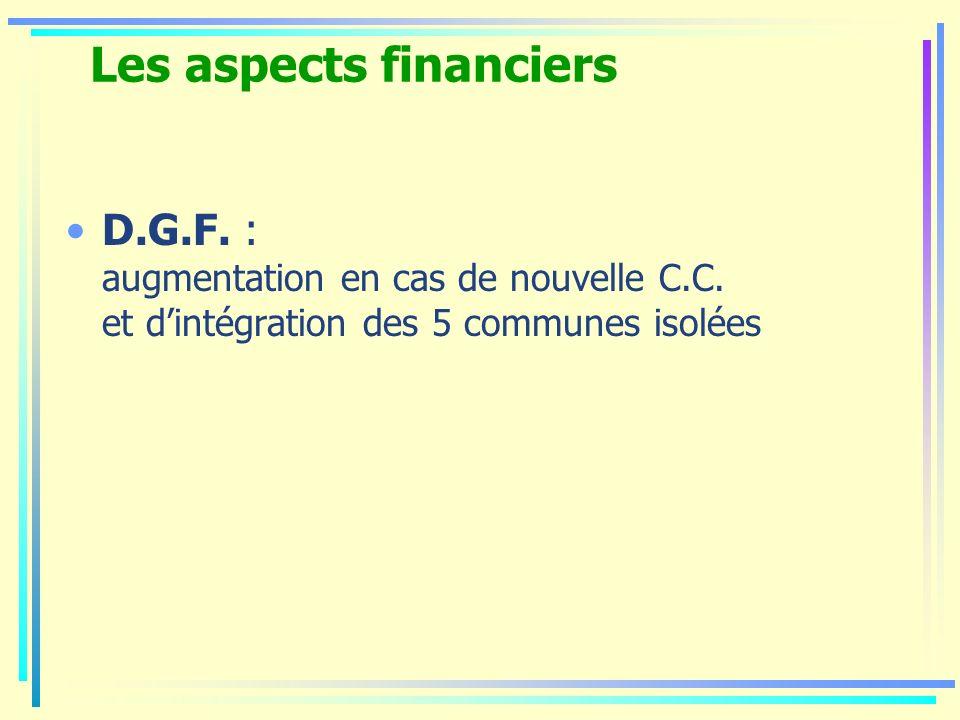 Les aspects financiers D.G.F. : augmentation en cas de nouvelle C.C. et dintégration des 5 communes isolées
