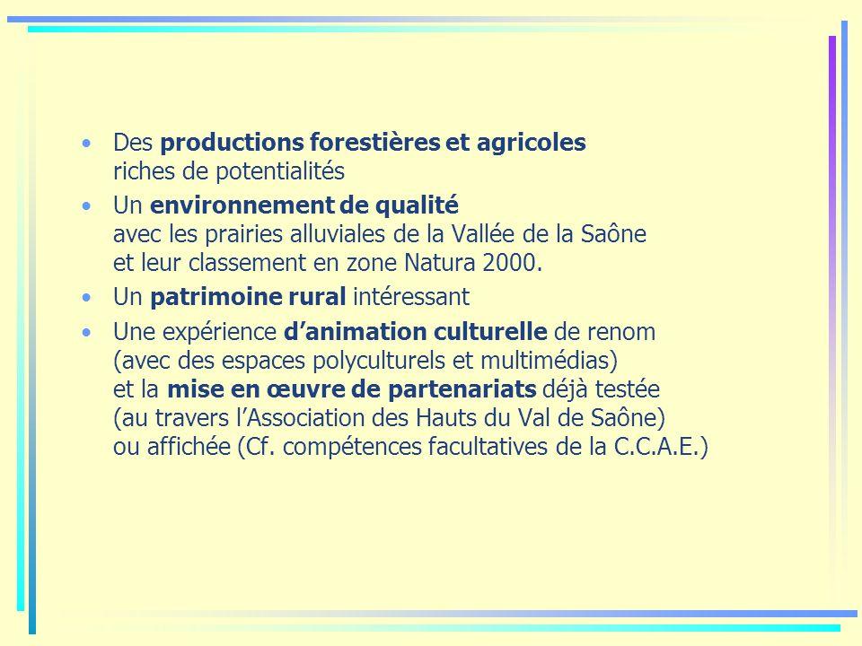 Des productions forestières et agricoles riches de potentialités Un environnement de qualité avec les prairies alluviales de la Vallée de la Saône et