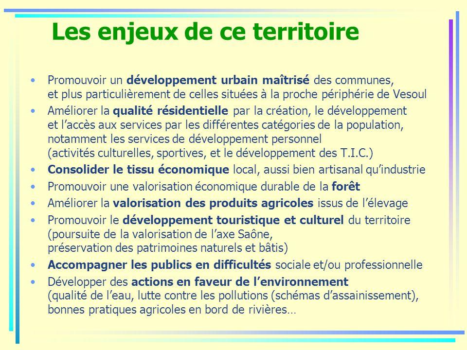 Les enjeux de ce territoire Promouvoir un développement urbain maîtrisé des communes, et plus particulièrement de celles situées à la proche périphéri