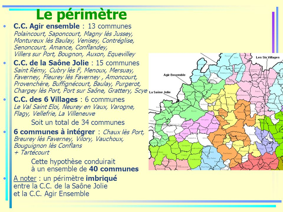 Le périmètre C.C. Agir ensemble : 13 communes Polaincourt, Saponcourt, Magny lès Jussey, Montureux lès Baulay, Venisey, Contréglise, Senoncourt, Amanc
