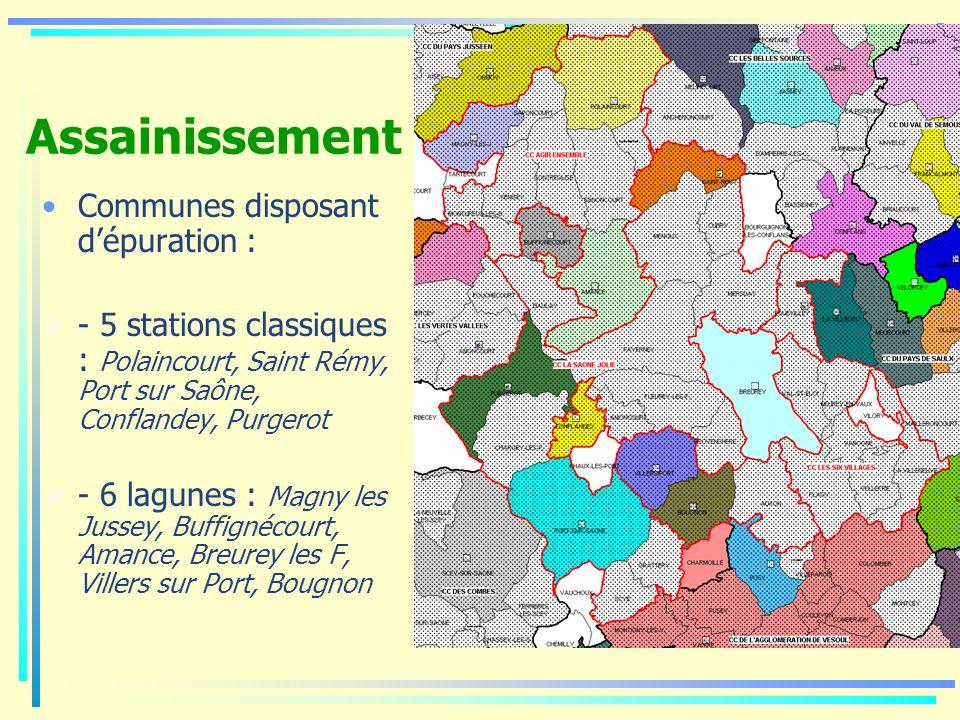 Assainissement Communes disposant dépuration : - 5 stations classiques : Polaincourt, Saint Rémy, Port sur Saône, Conflandey, Purgerot - 6 lagunes : M