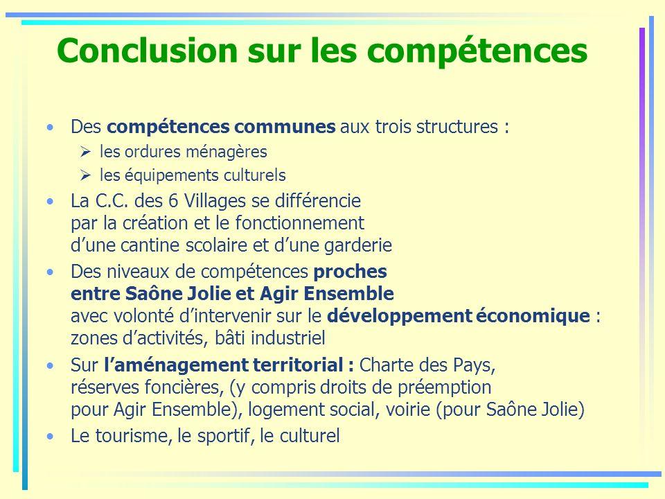 Conclusion sur les compétences Des compétences communes aux trois structures : les ordures ménagères les équipements culturels La C.C. des 6 Villages