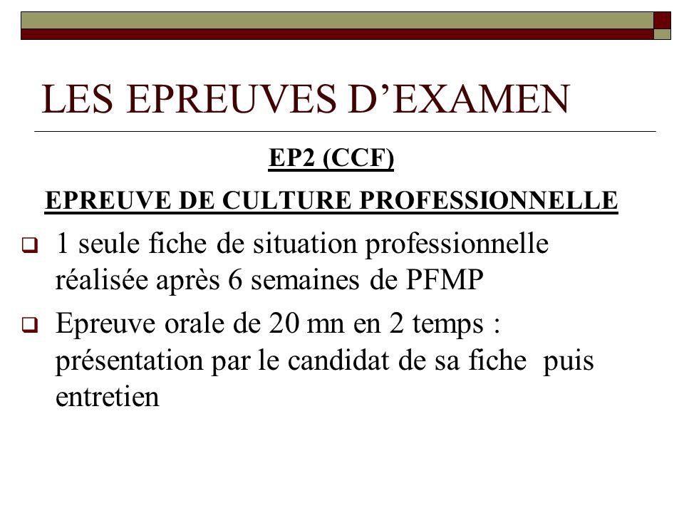 LES EPREUVES DEXAMEN EP2 (CCF) EPREUVE DE CULTURE PROFESSIONNELLE 1 seule fiche de situation professionnelle réalisée après 6 semaines de PFMP Epreuve