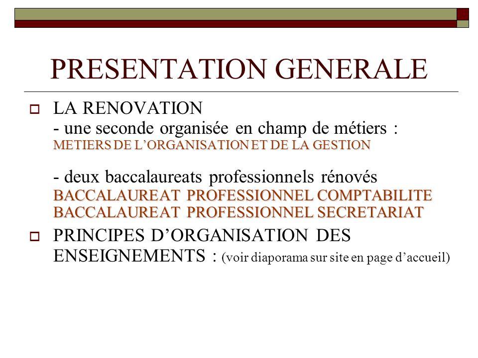 PRESENTATION GENERALE METIERS DE LORGANISATION ET DE LA GESTION BACCALAUREAT PROFESSIONNEL COMPTABILITE BACCALAUREAT PROFESSIONNEL SECRETARIAT LA RENO