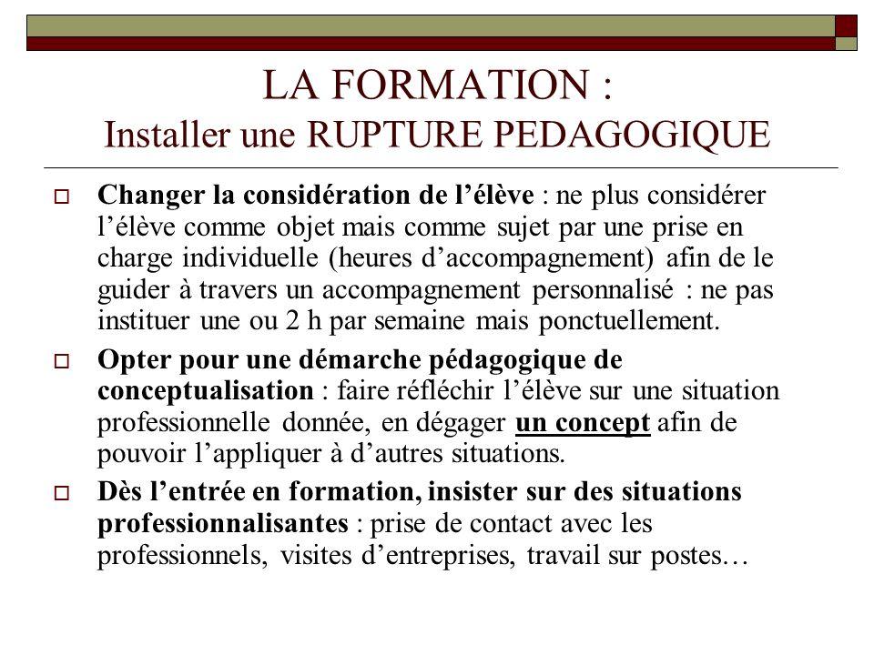 LA FORMATION : Installer une RUPTURE PEDAGOGIQUE Changer la considération de lélève : ne plus considérer lélève comme objet mais comme sujet par une p