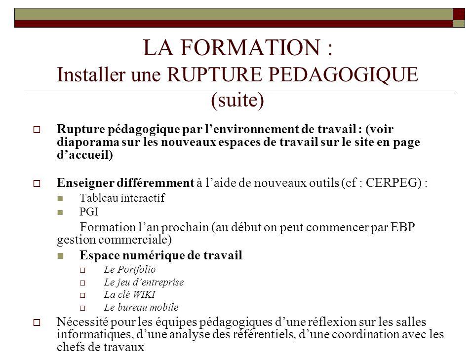 LA FORMATION : Installer une RUPTURE PEDAGOGIQUE (suite) Rupture pédagogique par lenvironnement de travail : (voir diaporama sur les nouveaux espaces