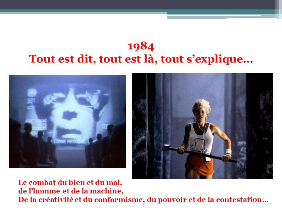 1984 Tout est dit, tout est là, tout sexplique… Le combat du bien et du mal, de lhomme et de la machine, De la créativité et du conformisme, du pouvoi
