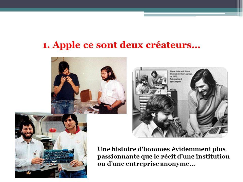 1. Apple ce sont deux créateurs… Une histoire dhommes évidemment plus passionnante que le récit dune institution ou dune entreprise anonyme…