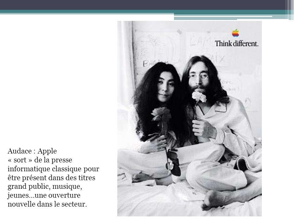 Audace : Apple « sort » de la presse informatique classique pour être présent dans des titres grand public, musique, jeunes…une ouverture nouvelle dan