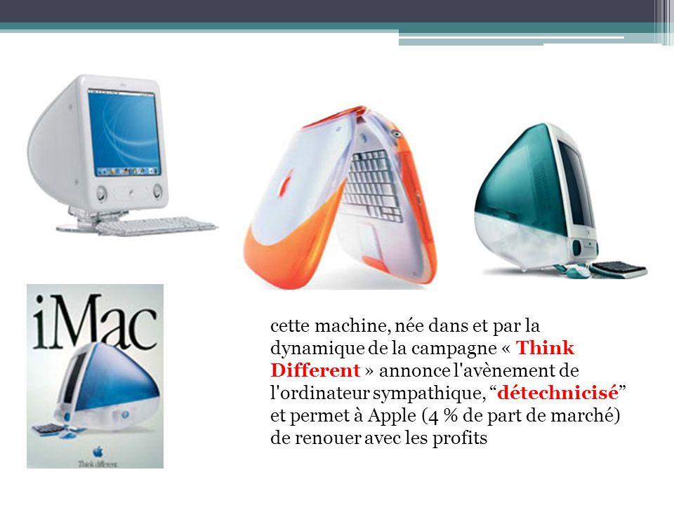 cette machine, née dans et par la dynamique de la campagne « Think Different » annonce l'avènement de l'ordinateur sympathique, détechnicisé et permet