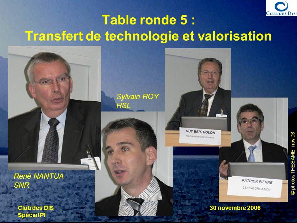 © photos THESAME nov.06 Club des DIS Spécial PI 30 novembre 2006 Table ronde 5 : Transfert de technologie et valorisation René NANTUA SNR Sylvain ROY