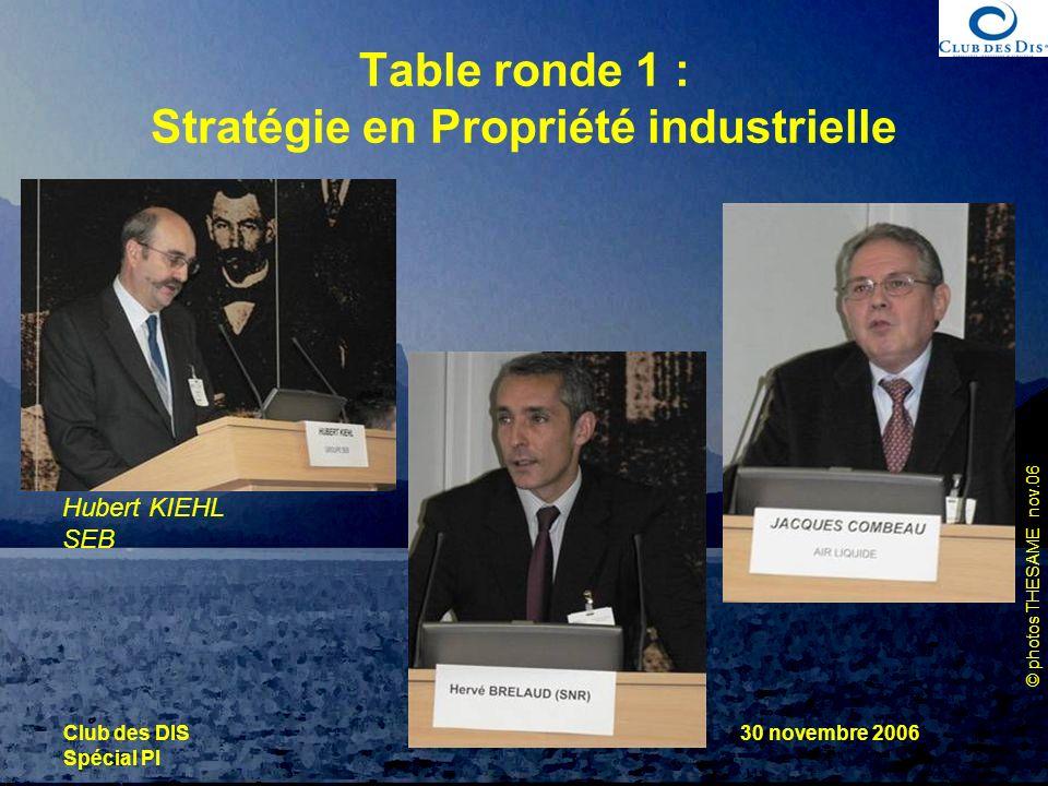 © photos THESAME nov.06 Club des DIS Spécial PI 30 novembre 2006 Table ronde 1 : Stratégie en Propriété industrielle Hubert KIEHL SEB